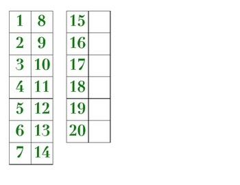 File Folder Matching Numerals 1-20 (Green)