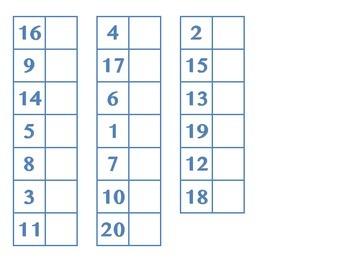 File Folder Matching Numerals 1-20 (Light Blue)