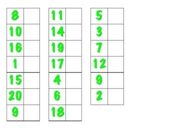 File Folder Matching Numerals 1-20 (Light Green)