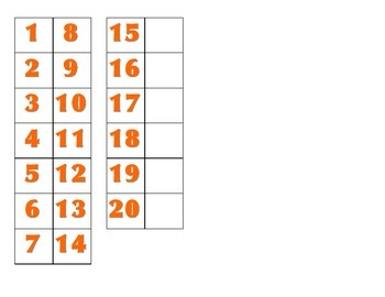 File Folder Matching Numerals 1-20 (Orange)