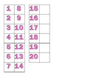 File Folder Matching Numerals 1-20 (Pink)