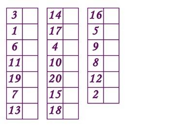 File Folder Matching Numerals 1-20 (Purple)