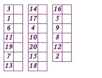 File Folder Matching Numerals 1-20 (Purple)