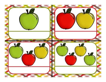 File Folder Matching Numerals to Quantities 1-10 (Apple Theme)