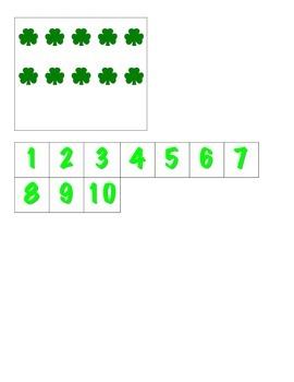 File Folder Matching Numerals to Quantities 1-10 (Shamrock Theme)