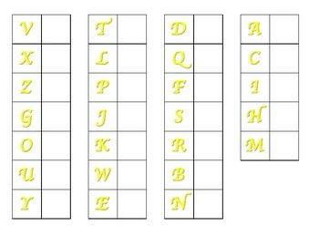 File Folder Matching Upper to Lowercase Letters (Yellow)