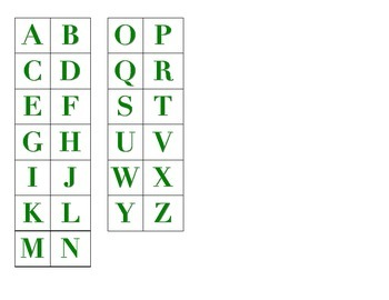 File Folder Matching Uppercase Letters (Green)