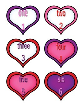 File Folder Numerals to Number Words 1-10 (Heart Theme)