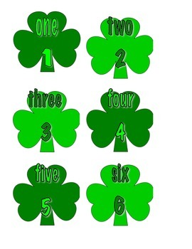 File Folder Numerals to Number Words 1-10 (Shamrock Theme)