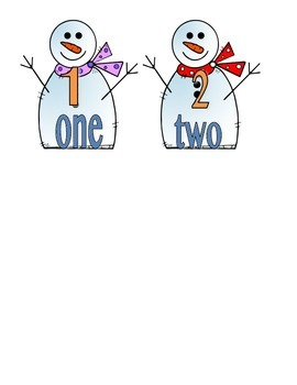 File Folder Numerals to Number Words 1-10 (Snowman Theme)