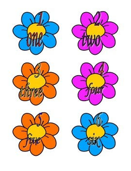 File Folder Numerals to Number Words 1-10 (Flower Theme)
