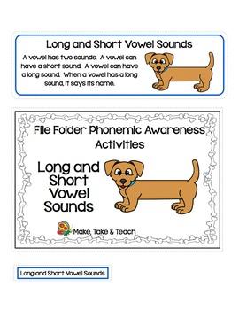 File Folder Phonemic Awareness- Long and Short Vowel Sounds
