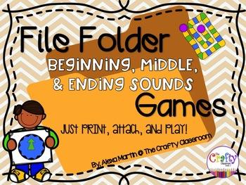 File Folder Phonics Games-BEGINNING, MIDDLE, & ENDING SOUNDS