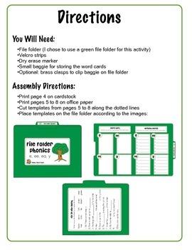 File Folder Phonics- e/ee/ea/y