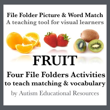 Four Autism File Folder Activities - Picture & Word Match, Fruit