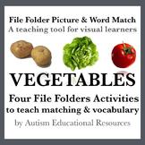 Four Autism File Folder Activities - Picture & Word Match, Vegetables