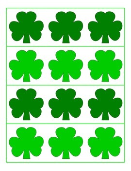 File Folder Preceding and Following Numbers Through 20 (Shamrock Theme)