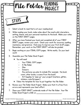 Book Report File Folder Reading Project Book Project Tpt