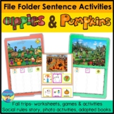 Autism File Folder Sentence Building Activities for Apples and Pumpkins