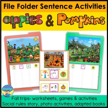 File Folder Sentence Activities for Autism- Apples and Pumpkins