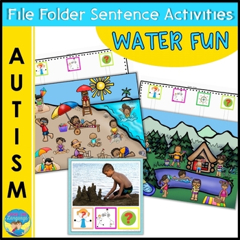Autism Activities: File Folder Picture Sentence Building- In the Water!