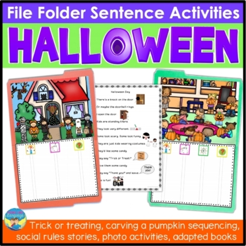 File Folder Language Activities for Special Education: Halloween Sentences