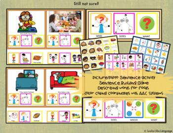 Autism Activities: File Folder Picture Sentence Building- Thanksgiving!