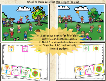 Autism Activities: File Folder Picture Sentence Building- Barbecues!