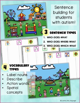 Autism File Folder Sentence Building Activities for Carnivals and Fairs