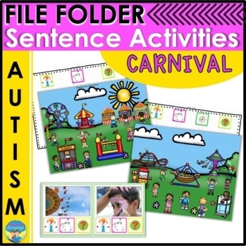 File Folder Sentence Activities for Autism- Carnival! Spee