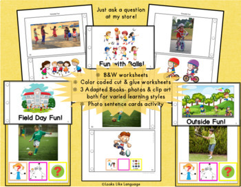 Autism Activities: File Folder Picture Sentence Building- Field Day!