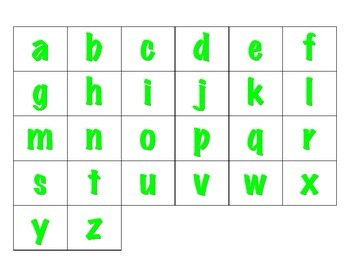 File Folder Sequence ABCs Lowercase (Light Green)