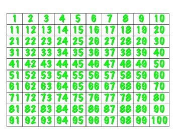 File Folder Sequencing Numbers 1-100 (Light Green)