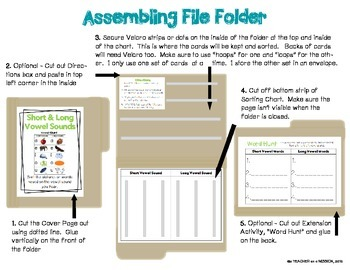 File Folder: Short and Long Vowel Picture and Word Sort