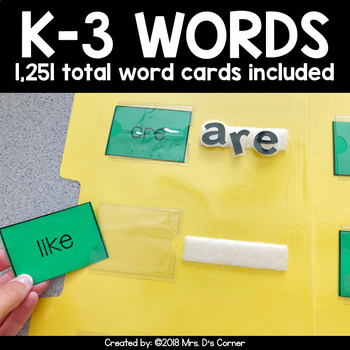 File Folder Spelling for K-3 {1,200+ sight words included!}