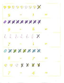 File Folder Subtraction 0-9 (Easter Theme)