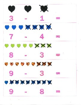 File Folder Subtraction 0-9 (Hearts)