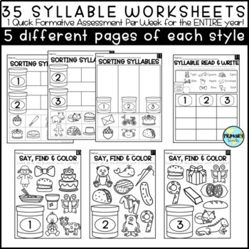 Syllable Smash Game and Assessment Worksheets, k-1