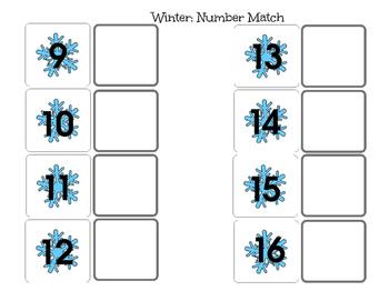 File Folder Winter Number Match