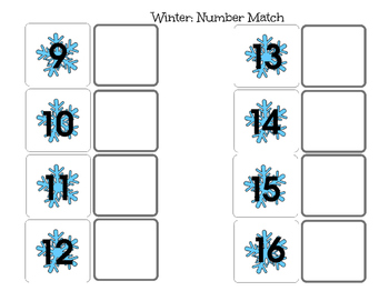 File Folder Winter Number Match