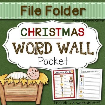 File Folder Word Wall: Christmas