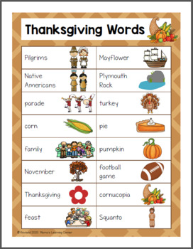 File Folder Word Wall: Thanksgiving
