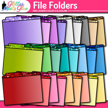 File Folder Clip Art {Rainbow Glitter Back to School Supplies for Organization}