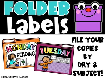 File Folders - File your copies by subject and day! Organizational Filing System