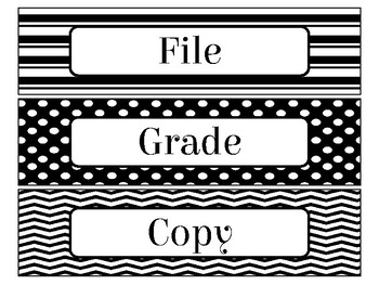 File, Grade, and Copy Labels FREEBIE in Black and White Theme