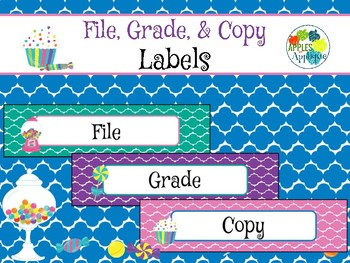 File, Grade, and Copy Labels FREEBIE in Candy Shop Theme