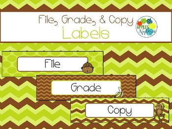 File, Grade, and Copy Labels FREEBIE in Monkey Theme