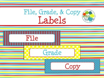 File, Grade, and Copy Labels FREEBIE in Primary Colors Theme