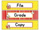 File, Grade, and Copy Labels FREEBIE in Popcorn Theme