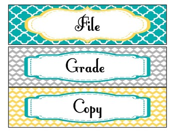 File, Grade, and Copy Labels FREEBIE in Yellow Teal and Gray Theme